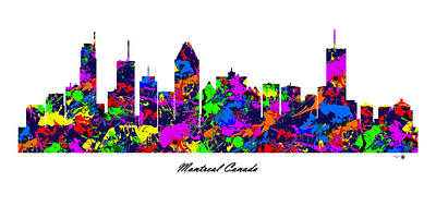 Montreal Buildings Digital Art - Montreal Canada Paint Splatter Skyline by Gregory Murray