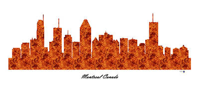 Montreal Buildings Digital Art - Montreal Canada Raging Fire Skyline by Gregory Murray