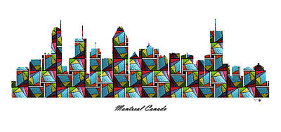 Montreal Buildings Digital Art - Montreal Canada Stained Glass Skyline by Gregory Murray