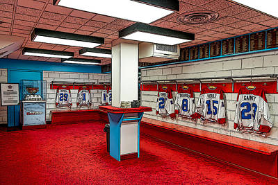 Painting - Montreal Canadians Hall Of Fame Locker Room by Boris Mordukhayev