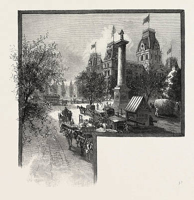Montreal, City Hall And Nelsons Monument Art Print by Canadian School