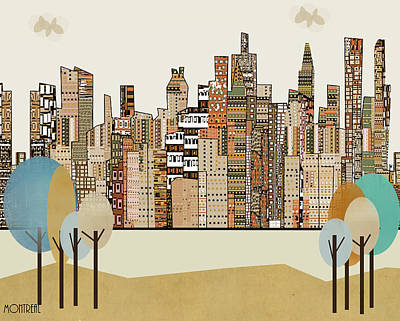 Montreal Cityscapes Painting - Montreal City Skyline by Bri B