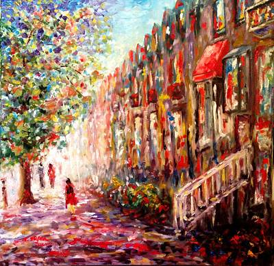Montreal Cityscapes Painting - Montreal Cityscape - St-denis Street by Cristina Stefan