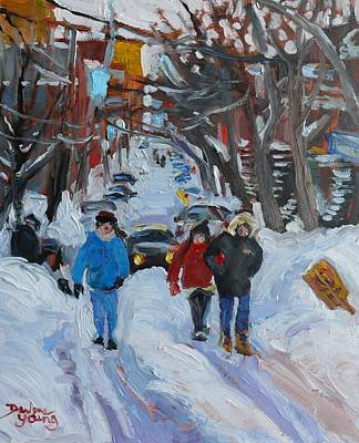 Art Print featuring the painting Montreal  East Winter Scene by Darlene Young