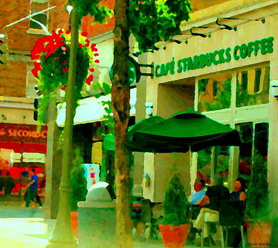 Montreal Cityscenes Photograph - Montreal Heatwave Chillin At Cafe Starbucks View Of Second Cup Montreal Street Scenes Carole Spandau by Carole Spandau