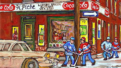 After School Hockey Painting - Montreal Hockey Paintings At The Corner Depanneur - Piche's Grocery Goosevillage Psc Griffintown  by Carole Spandau