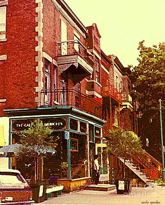 Painting - Montreal Memories Coffee Shop On The Corner Homemade Brioche Bakeshop Sidewalk Cafe C Spandau Art  by Carole Spandau