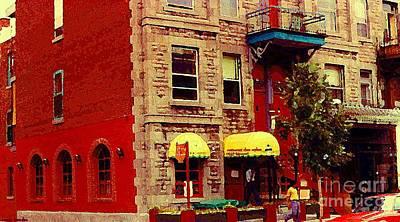 Montreal Cityscenes Painting - Montreal Memories Restaurant Chez Orphee 362 Fairmount Cb Spandau Montreal Premier City Scene Artist by Carole Spandau