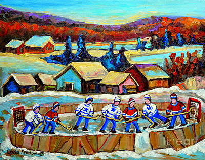 Painting - Montreal Memories Rink Hockey In The Country Hockey Our National Pastime Carole Spandau Paintings by Carole Spandau
