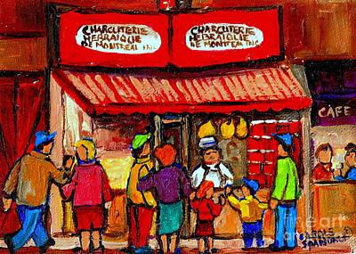 Painting - Montreal Memories Schwartz's Smoked Meat Nostalgic Vintage Scenes Heritage Landmark Classic Art by Carole Spandau