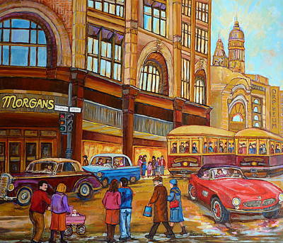 Montreal Memories. Painting - Montreal Memories-streetcars-morgan's Department Store At St.catherine And Union by Carole Spandau