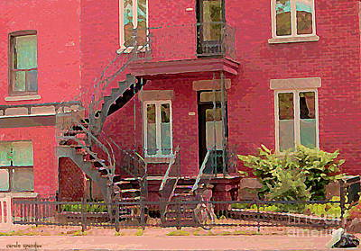 Painting - Montreal Memories The Old Neighborhood Timeless Triplex With Spiral Staircase City Scene C Spandau  by Carole Spandau