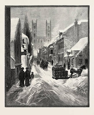 Montreal Streets Drawing - Montreal, Notre Dame by Canadian School