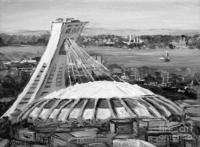 Stadium Scene Painting - Montreal Olympic Stadium And Olympic Park-home To Biodome And Velodrome-montreal In Black And White by Carole Spandau