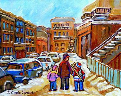 Painting - Montreal Paintings Winter Walk Past The Old School Snowy Day City Scene Carole Spandau by Carole Spandau