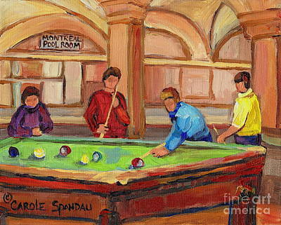 Streetscenes Painting - Montreal Pool Room by Carole Spandau