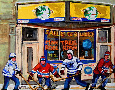 Afterschool Hockey Montreal Painting - Montreal Pool Room City Scene With Hockey by Carole Spandau