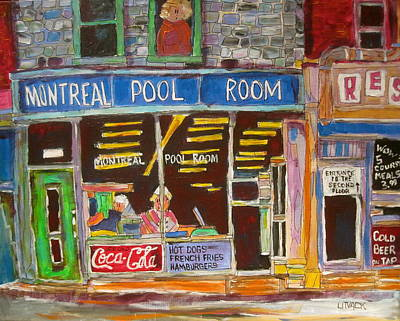 St. Lawrence Blvd Painting - Montreal Pool Room by Michael Litvack