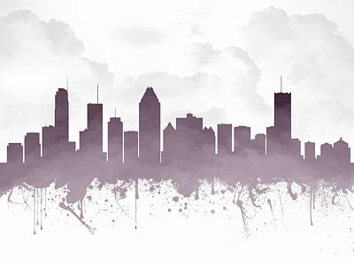 Canada Drawing - Montreal Quebec Skyline - Purple 03 by Aged Pixel