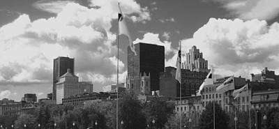 Photograph - Montreal Skyline Bw by Ann Powell