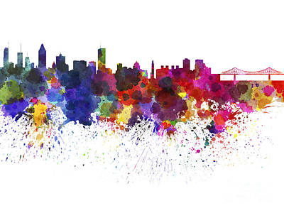 Montreal Skyline In Watercolor On White Background Art Print by Pablo Romero