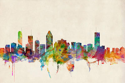 Montreal Digital Art - Montreal Skyline by Michael Tompsett