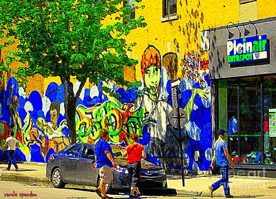 Painting - Montreal Street Art Murals Festival Painted Graffiti Tags Plein Air Entrepot Mont Royal C Spandau by Carole Spandau