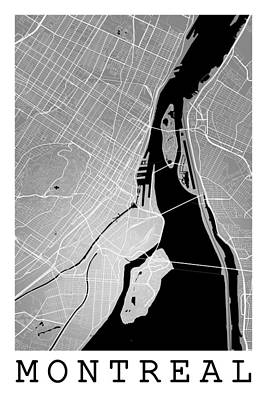 Outerspace Patenets Rights Managed Images - Montreal Street Map - Montreal Canada Road Map Art on Colored Ba Royalty-Free Image by Jurq Studio