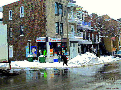 Winter Landscapes Painting - Montreal Street Scene A Winter Walk In The City The Corner Depanneur Carole Spandau by Carole Spandau