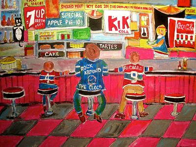 Montreal Snack Bar 1950 Painting - Montreal Tradition by Michael Litvack