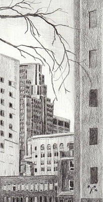 Montreal Cityscapes Drawing - Montreal Trust by Duane Gordon
