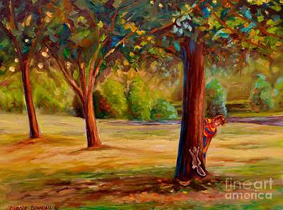 Painting - Montreal Westmount Park Urban Scene by Carole Spandau