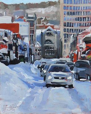 Art Print featuring the painting Montreal Winter Crescent by Darlene Young
