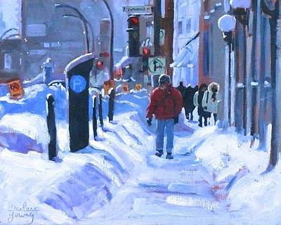 Art Print featuring the painting Montreal Winter Downtown by Darlene Young
