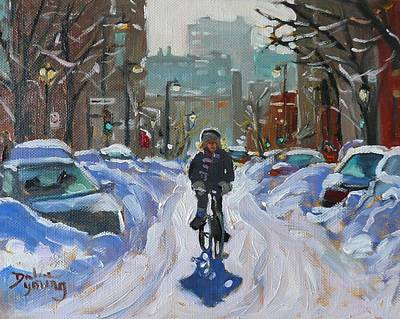 Art Print featuring the painting Montreal Winter Fastest Transportation by Darlene Young