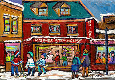 Art Of Hockey Painting - Montreal Winter Hockey At Moishes by Carole Spandau