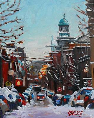 Art Print featuring the painting Montreal Winter Le Plateau Mont Royal by Darlene Young