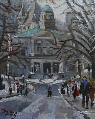 Art Print featuring the painting Montreal Winter Mcgill by Darlene Young
