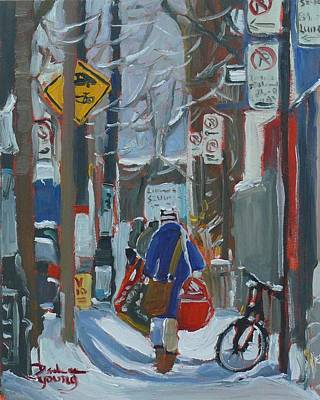 Art Print featuring the painting Montreal Winter Mcgill Laundry Day by Darlene Young