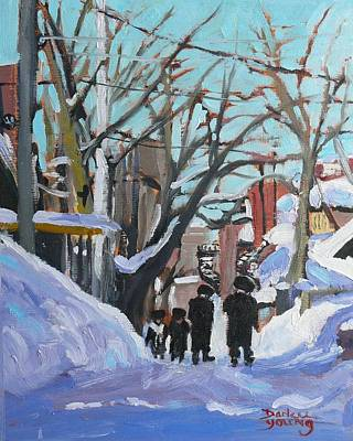 Art Print featuring the painting Montreal Winter Mile End Shabbat by Darlene Young