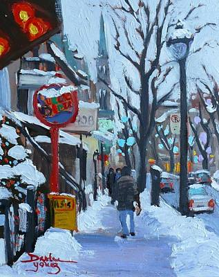 Art Print featuring the painting Montreal Winter Near Uqam by Darlene Young