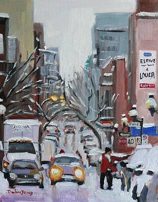 Art Print featuring the painting Montreal Winter Scene Boul St Laurent by Darlene Young