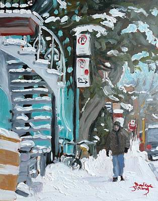 Art Print featuring the painting Montreal Winter Scene Mile End by Darlene Young
