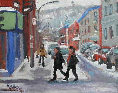Art Print featuring the painting Montreal Winter Scene Mont Royal by Darlene Young