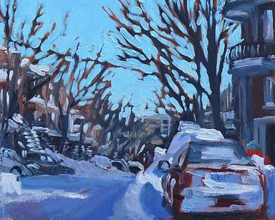 Art Print featuring the painting Montreal Winter Scene Morning by Darlene Young