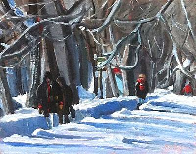 Art Print featuring the painting Montreal Winter Scene Parc La Fontaine by Darlene Young