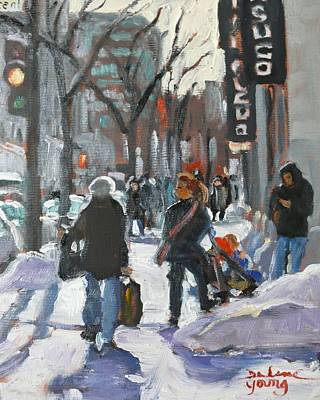 Art Print featuring the painting Montreal Winter Scene St Catherine by Darlene Young