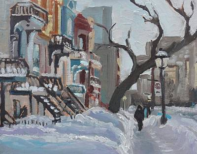 Art Print featuring the painting Montreal Winter Sherbrooke Est by Darlene Young