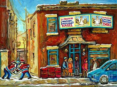 Street Hockey Painting - Montreal's Favorite Bagel Shop Original Fairmount Bagel Laneway Hockey Game By Carole Spandau by Carole Spandau