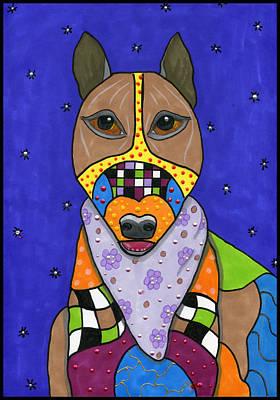 Bull Terrier Mixed Media - Monty Bull Terrier by Raela K